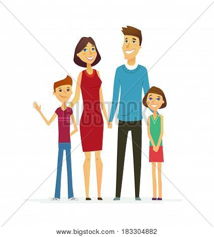 Family - coloured vector modern flat illustrative composition of cartoon characters. Father, mother, son, daughter. United and happy.