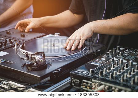 DJ with Turntables Music Entertainment Event Party