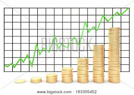 3d illustration: Metal copper-gold coins graph chart stock market  with green line - arrow on a white background isolated. Profit increase.