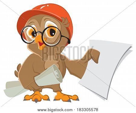 Owl engineer builder in helmet with drawings paper. Isolated on white vector cartoon illustration