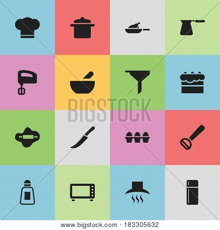 Set Of 16 Editable Food Icons. Includes Symbols Such As Kitchen Hood, Agitator, Soup And More. Can Be Used For Web, Mobile, UI And Infographic Design.