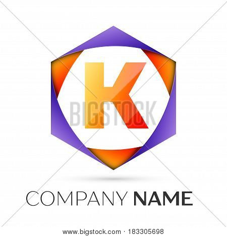 Letter K vector logo symbol in the colorful hexagonal on grey background. Vector template for your design