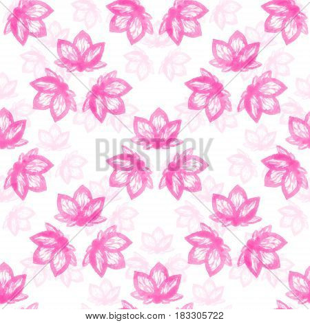 Seamless pattern with soft pink watercolor abstract flowers