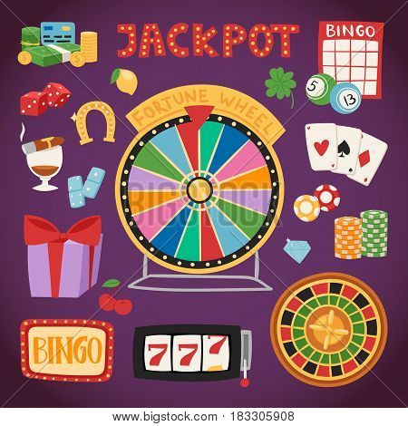 Casino game icons poker gambler symbols and blackjack cards money winning with roulette gambler joker slot machine concept vector illustration.