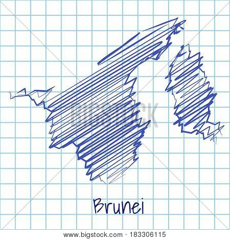 Map Of Brunei, Blue Sketch Abstract Background