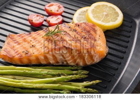 Grilled Salmon Cooked Bbq On A Pan On Wooden Background