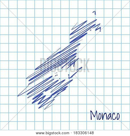 Map Of Monaco, Blue Sketch Abstract Background