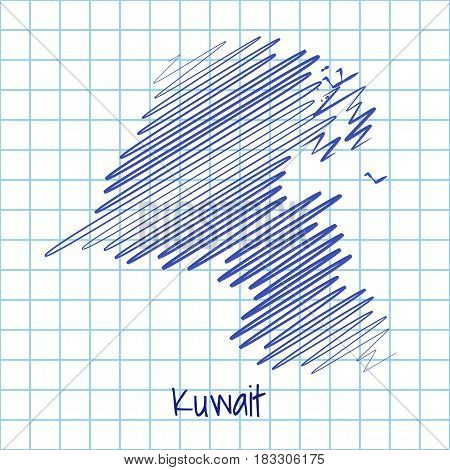 Map Of Kuwait, Blue Sketch Abstract Background