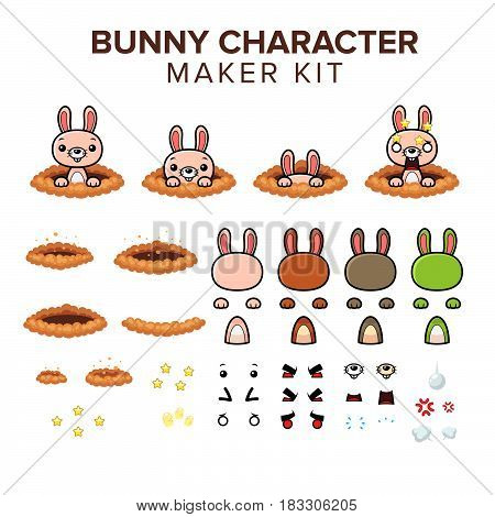 bunny character kit. cartoon  Vector Illustration design