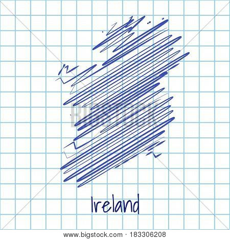 Map Of Ireland, Blue Sketch Abstract Background