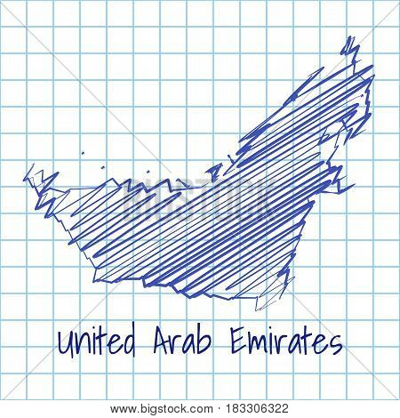 Map Of United Arab Emirates, Blue Sketch Abstract Background