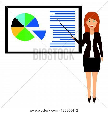 Cute woman character present about business lecture. Training staff business presentation meeting financial report business school. Flat illustration.