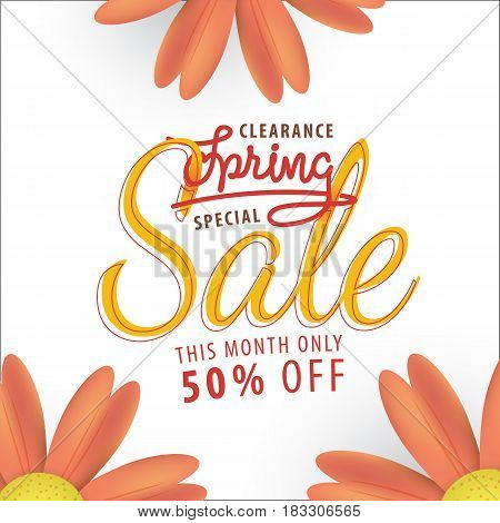 Spring Sale Orange Flower 50 Percent Off Heading Design For Banner Or Poster. Sale And Discounts Con