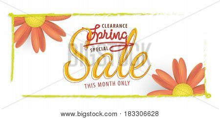 Spring Sale Orange Flower Sale And Green Frame Heading Design For Banner Or Poster. Sale And Discoun
