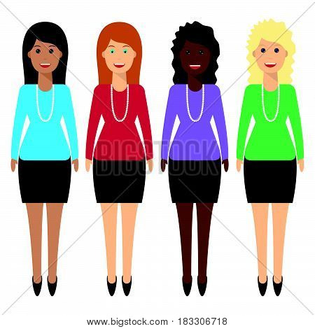 Woman characters of different ethnicity in flat style. International female office staff. Female office workers of different nationality standing smiling.
