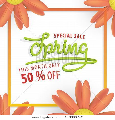 Spring Green And Orange Flower Frame 50 Percent Off Heading Design For Banner Or Poster. Sale And Di