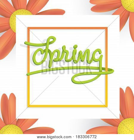 Spring Green And Orange Flower Frame Heading Design For Banner Or Poster. Sale And Discounts Concept