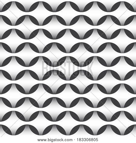 Abstract repeatable pattern background of white intertwined grids with round cells.