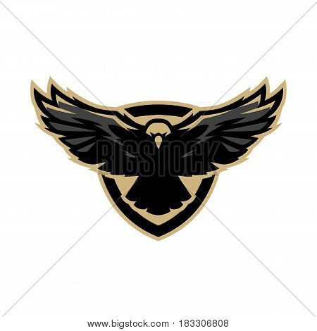 Eagle in flight logo symbol. Vector illustration.