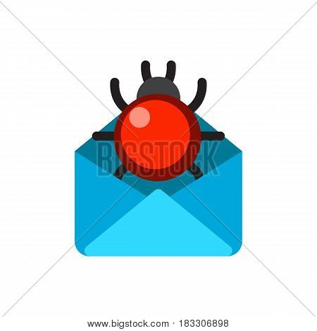 Email envelope cover communication correspondence blank cover with bug address design paper empty card business writing message vector illustration. Mailing object page document.