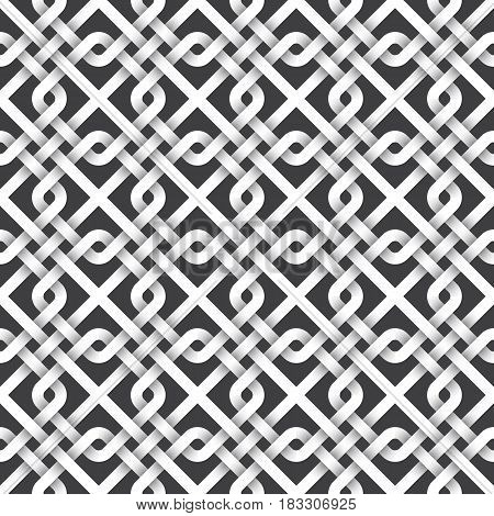 Abstract repeating background of white twisted strips. Swatch of intertwined squares and lines.