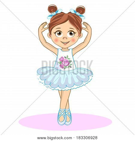 Pretty little ballerina. Cute vector girl in pointe for your design