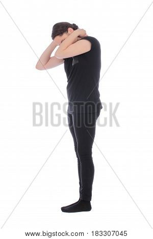 Black dressed people forming number one on white background