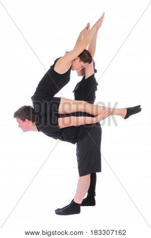 Black dressed people forming number four on white background