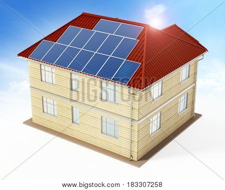 Solar panels being installed on building rooftop. 3D illustration.