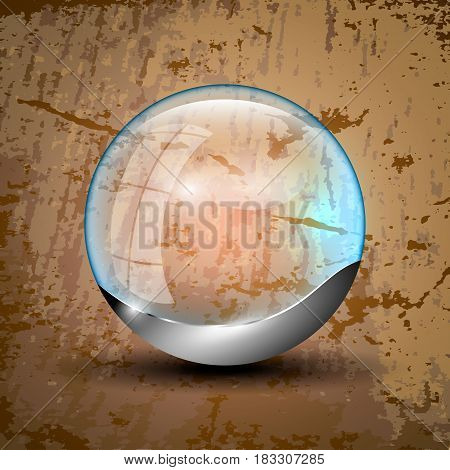 Transparent orb with gray bottom and blue illumination. Vector illustration.