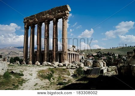 Ruins of Jupiter temple and great court of Heliopolis in Baalbek, Bekaa valley Lebanon