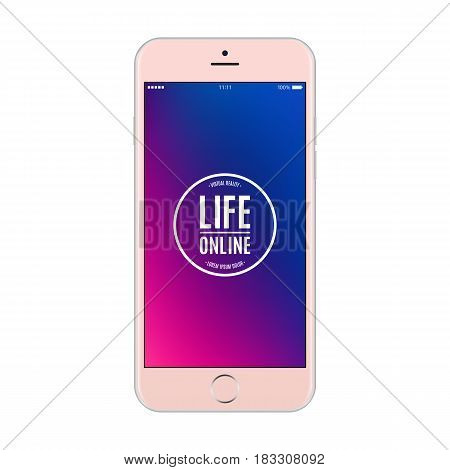 smartphone rose gold color with colored screen isolated on white background. stock vector illustration eps10