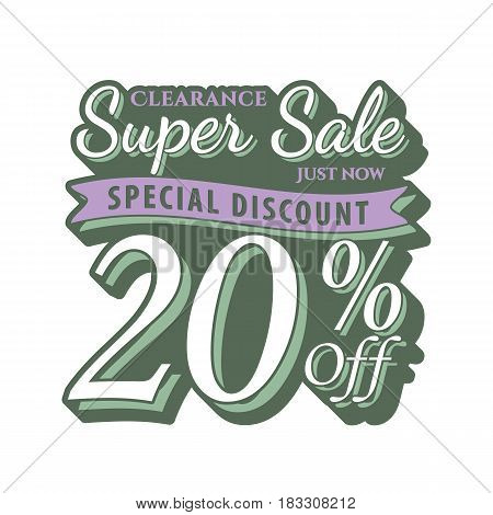 Vol. 2 Super Sale 20 Percent Heading Design Vintage Style  For Banner Or Poster. Sale And Discounts