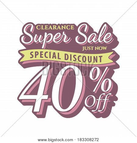 Vol. 2 Super Sale 40 Percent Heading Design Vintage Style  For Banner Or Poster. Sale And Discounts