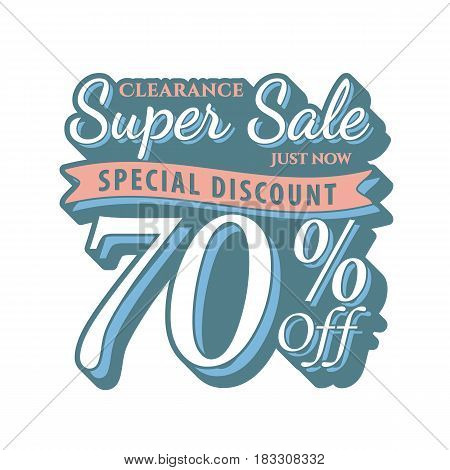 Vol. 2 Super Sale 70 Percent Heading Design Vintage Style  For Banner Or Poster. Sale And Discounts