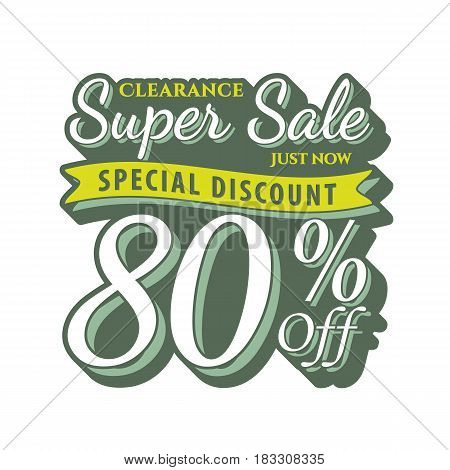Vol. 2 Super Sale 80 Percent Heading Design Vintage Style  For Banner Or Poster. Sale And Discounts