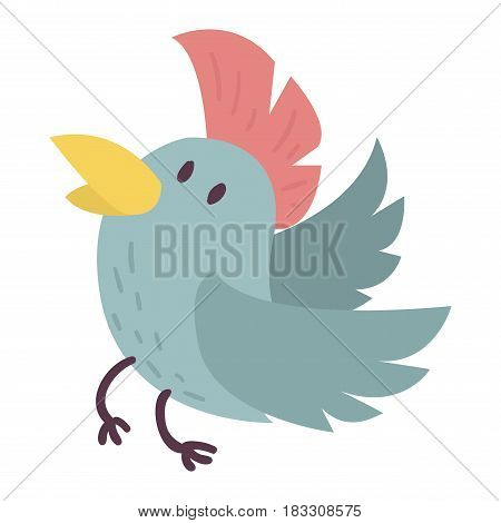 Cute bird vector happy drawing decoration. Cartoon bird with funny little cute bird family. Vector character wing colorful cute birds wild sweet animals.