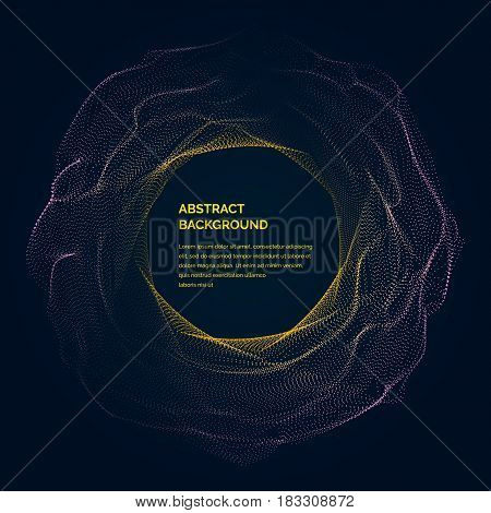 Modern vector illustration with a deformed circle shape of the particles of yellow and purple color on a dark background. Good as a template for your design
