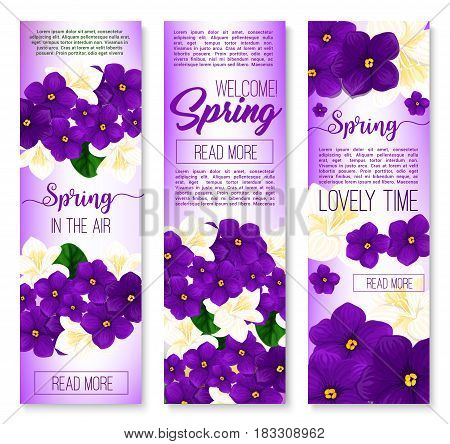 Spring flower welcome banner set. Blooming flowers of crocus, violet and jasmine branch with green leaves. Spring season holidays greeting card, springtime celebrations invitation flyer design