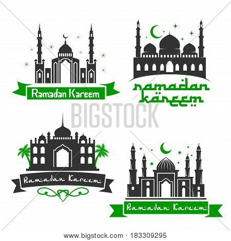 Ramadan Kareem Muslim holiday greeting with mosque minarets, crescent moon light and shining star in sky. Vector icons set with calligraphy text for Islamic or Muslim religious celebration