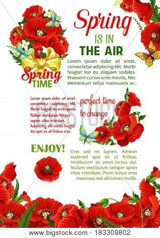 Springtime holidays poster with spring flower bouquet. Floral bunch of poppy flowers and flowering branch of jasmine plant, green leaf and bud, decorated with butterfly and bow. Spring themes design