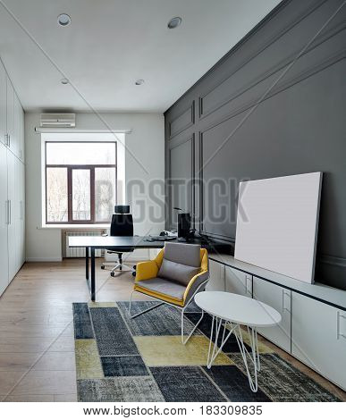 Office in a modern style with white and gray walls, parquet with a carpet on the floor. There is a black table with a computer and an armchair, lockers, small round table with a colorful armchair.