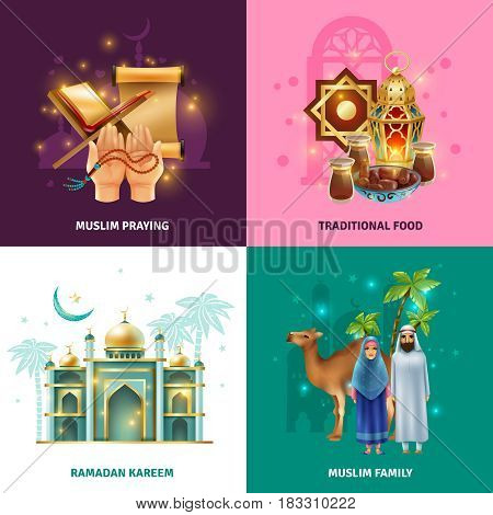 Ramadan holy month islamic family traditions 4 colorful background icons square with symbols prayer food isolated vector illustration