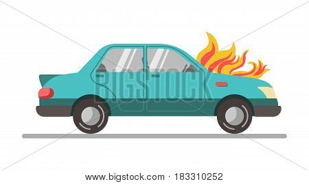 Vector illustration of a car with motor is on fire isolated on white.