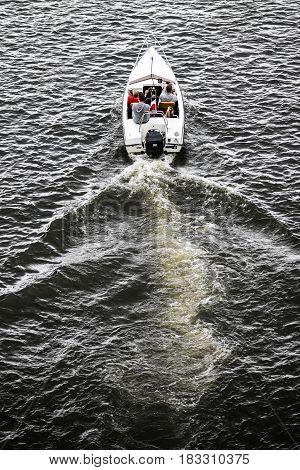 Motorboat on teh odra river. Szczecin Poland summer time.