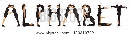Black dressed people forming word ALPHABET on white background