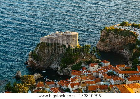 View from the top of the mountain of Srdj to Fort of St. Lawrence in the old town in Dubrovnik, Croatia.