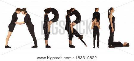 Black Dressed People Forming Word April