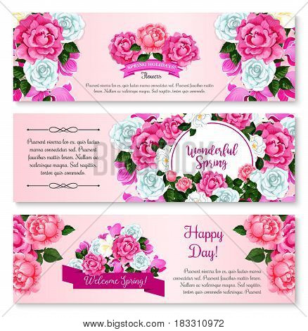 Spring flower bouquet for greeting banner template. Flower frame border of rose, crocus, peony and cyclamen with green branch and floral bud, decorated by ribbon banner for springtime holidays design