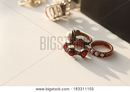 Collection of rings on table, closeup